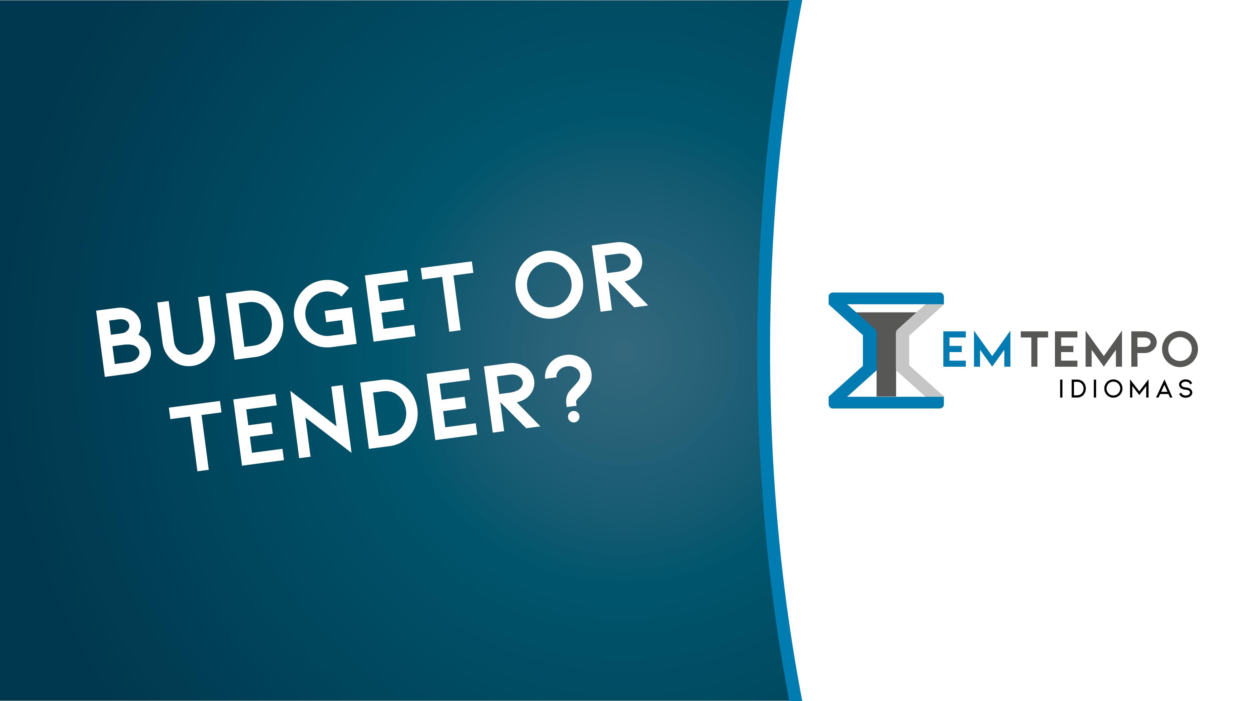 Orçamento: budget ou tender?